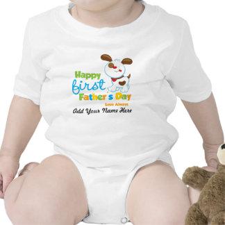 Día de padre feliz del perro de perrito el primer camiseta