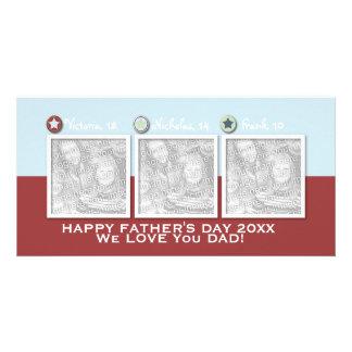 Día de padres - AÑADA SUS FOTOS - 3 estrellas Plantilla Para Tarjeta De Foto