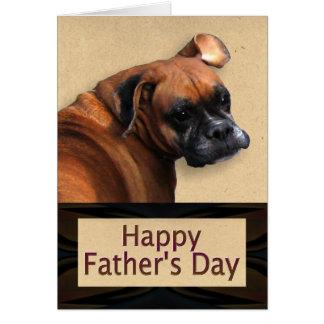 Día de padres con el perro del boxeador felicitacion