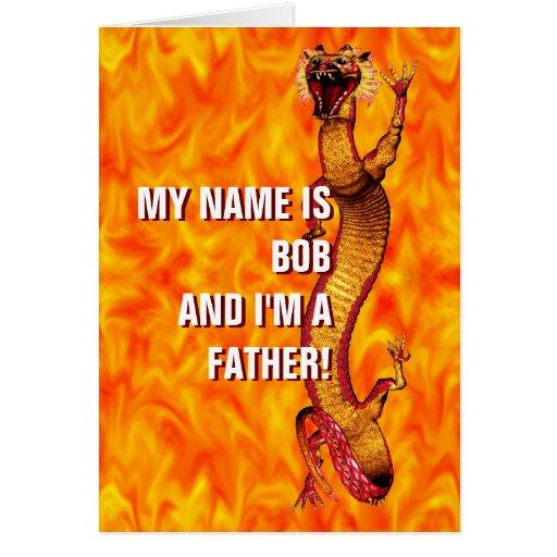 Día de padres del dragón tarjeta de felicitación