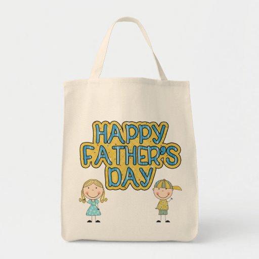 Día de padres feliz bolsa tela para la compra