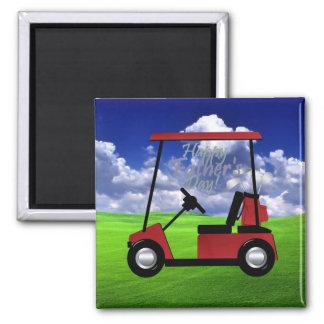 Día de padres feliz del golf imán cuadrado