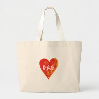 Día de padres feliz, papá, corazón rojo pintado a  bolsa tela grande