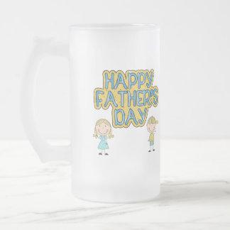 Día de padres feliz taza de cristal