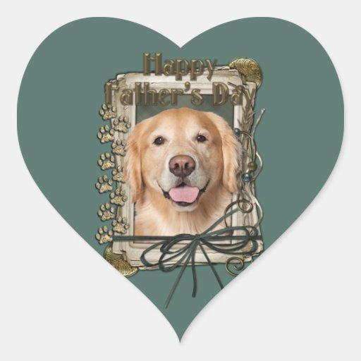 Día de padres - golden retriever de piedra de las pegatina de corazón personalizadas