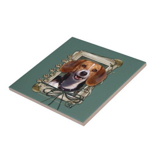 Día de padres - patas de piedra - beagle teja  ceramica