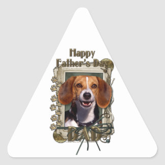 Día de padres - patas de piedra - beagle pegatina triangular
