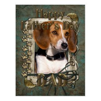Día de padres - patas de piedra - beagle postales