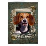 Día de padres - patas de piedra - beagle tarjeta de felicitación