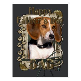 Día de padres - patas de piedra - beagle tarjeta postal