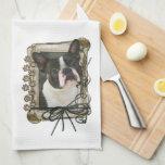 Día de padres - patas de piedra - Boston Terrier Toallas De Mano