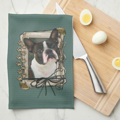 Día de padres - patas de piedra - Boston Terrier Toalla De Mano