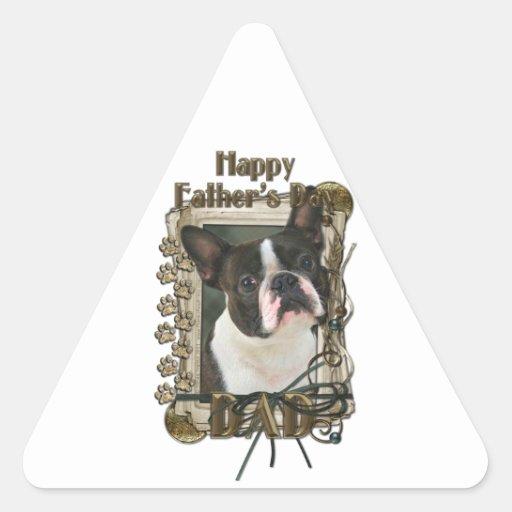 Día de padres - patas de piedra - Boston Terrier Calcomania Trianguloada