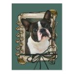 Día de padres - patas de piedra - Boston Terrier Postal