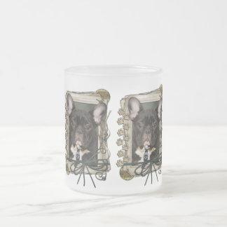 Día de padres - patas de piedra - dogo francés - taza de cristal
