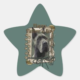 Día de padres - patas de piedra - great dane - pegatina en forma de estrella