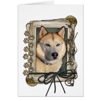 Día de padres - patas de piedra - husky siberiano tarjeta de felicitación