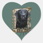 Día de padres - patas de piedra - Labrador - negro Pegatina En Forma De Corazón