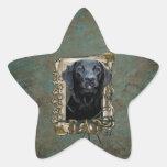 Día de padres - patas de piedra - Labrador - negro Pegatina Forma De Estrella Personalizada