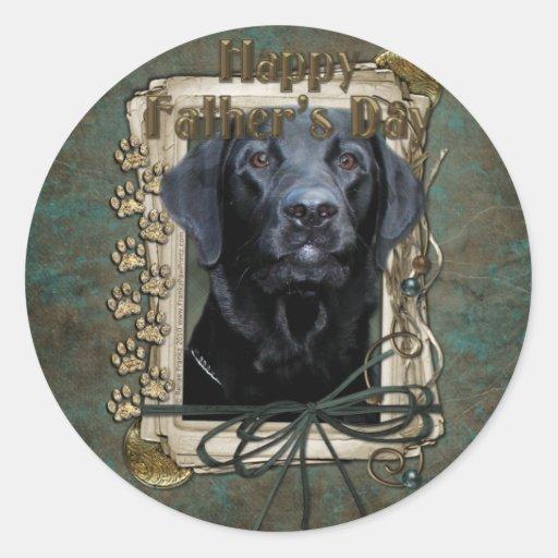 Día de padres - patas de piedra - Labrador - negro Etiquetas Redondas
