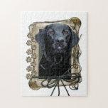 Día de padres - patas de piedra - Labrador - negro Puzzle