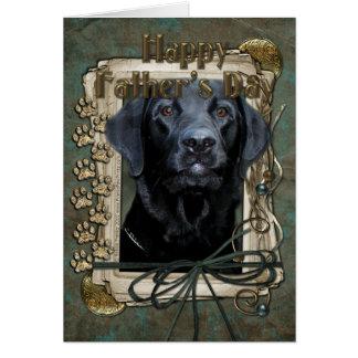 Día de padres - patas de piedra - Labrador - negro Tarjeta De Felicitación