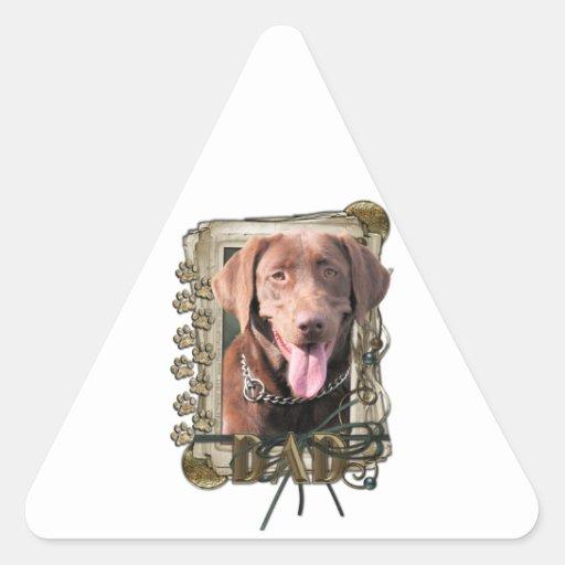 Día de padres - patas de piedra - Labrador - Calcomanía De Triangulo Personalizadas