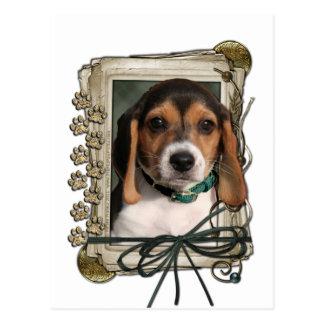 Día de padres - patas de piedra - perrito del beag tarjeta postal