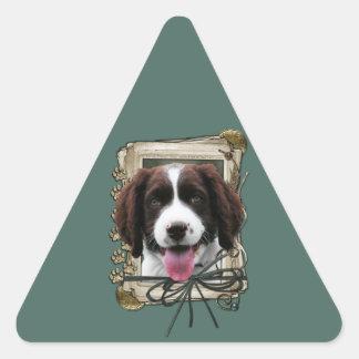 Día de padres - patas de piedra - perro de aguas calcomania de triangulo