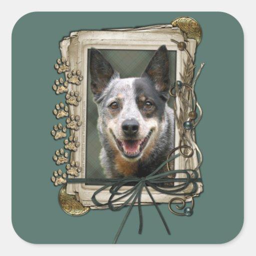 Día de padres - patas de piedra - perro del ganado calcomanía cuadradas personalizada