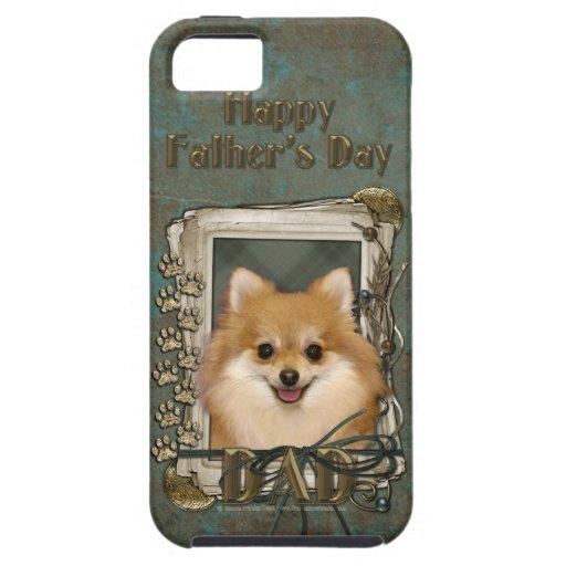 Día de padres - patas de piedra - Pomeranian iPhone 5 Funda