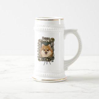 Día de padres - patas de piedra - Pomeranian Taza