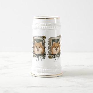 Día de padres - patas de piedra - Pomeranian Taza De Café