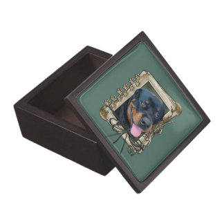 Día de padres - patas de piedra - Rottweiler - Har Cajas De Recuerdo De Calidad