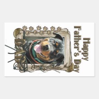 Día de padres - patas de piedra - Rottweiler - Pegatina Rectangular