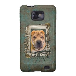 Día de padres - patas de piedra - Shar Pei Samsung Galaxy S2 Carcasas