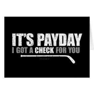 Día de paga #1 del hockey tarjeta de felicitación