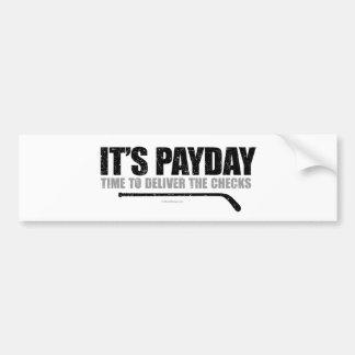 Día de paga #3 del hockey etiqueta de parachoque