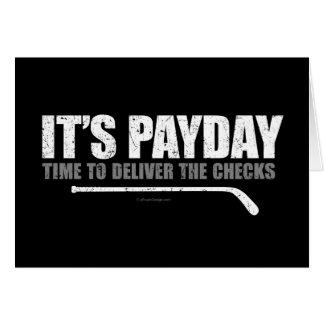 Día de paga #3 del hockey tarjeta de felicitación