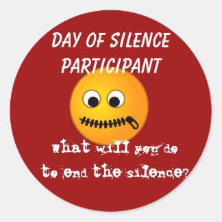 Día de pegatina del participante del silencio