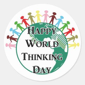 Día de pensamiento del mundo pegatina redonda