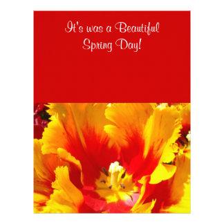 Día de primavera amarillo rojo de papel del tulipá membretes personalizados