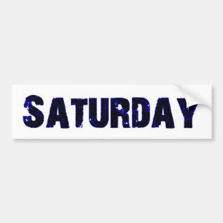 Día de sábado de la mercancía de la semana pegatina de parachoque