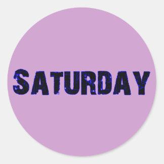 Día de sábado de la mercancía de la semana pegatina redonda