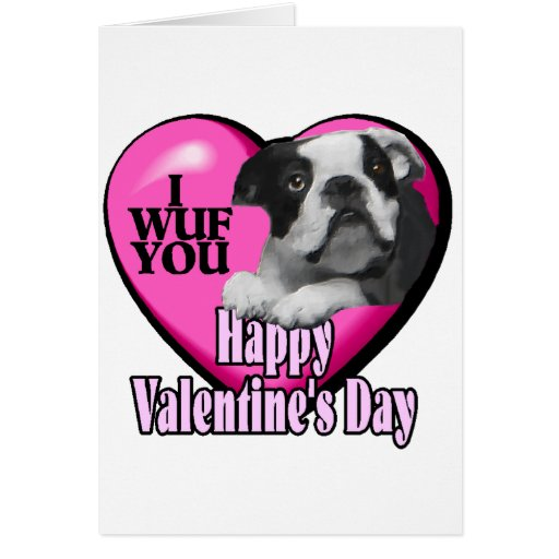 Día de San Valentín Boston Terrier Felicitacion