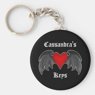 Día de San Valentín con alas gótico del corazón Llavero Redondo Tipo Pin