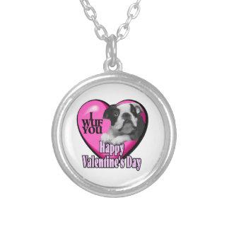 Día de San Valentín de Boston Terrier Colgante Redondo