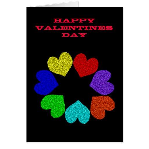 Día de San Valentín de encargo C del arco iris de Tarjeta De Felicitación