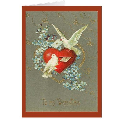 Día de San Valentín de las palomas y del corazón d Tarjeton