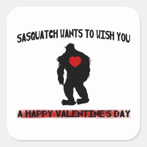 Día de San Valentín de Sasquatch Pegatina Cuadrada